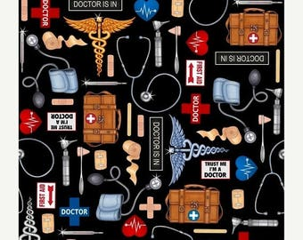 12% off thru July WHAT the DOCTOR ORDERED-by the yard by Qt fabrics-doc's equipment first aid medical on black-24928J