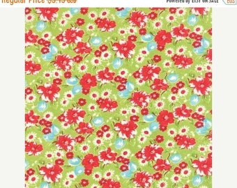 12% off thru July LITTLE RUBY  by the half yard Moda cotton quilt fabric Bonnie & Camille-55130-14 red pink white flowers on green