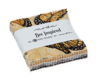 "15% off thru Mar.19th Mini charm pack BEE INSPIRED  moda 42- 2.5"" Fabric squares gold black grey bees butterflies Deb Strain 19790MC"