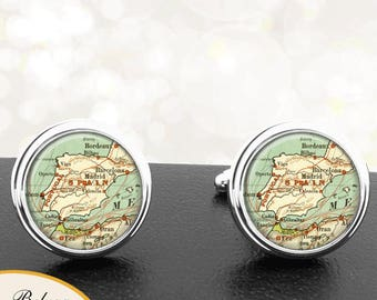 Antique Map Cufflinks Countries of Spain Portugal Cuff Links for Groomsmen Groom Fiance Anniversary Wedding Fathers Dads Men