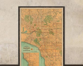 Melbourne map - Old map of Melbourne print - Fine wall map reproduction