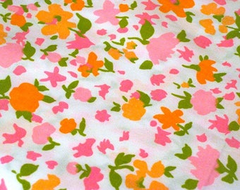 "Vintage Fabric - Bright Pink & Orange Floral - 36""W - Peter Pan - fabric by the yard - material - textile - sewing supply - Retro"
