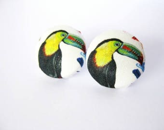 Fabric covered button earrings with tucan bird, tropical