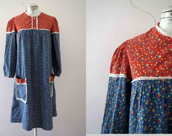 Vintage 70s Raggedy Anne Farm House Smock Dress Cotton Red Blue Floral