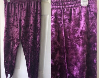 Purple Crushed Velvet Seam Front Skinny Pants Stirrup Leggings Stir Up Velour Petite Adult Small Medium