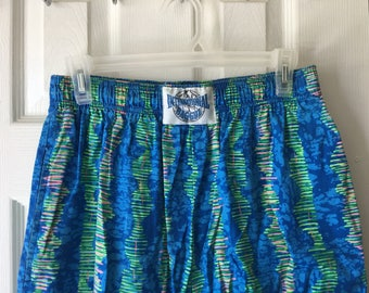 International Baggyz Vintage 80s Pants Blue Green Soundwave Print Unisex Surfer Athletic Neon Joggers