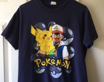 Pokemon Original Series Ash Ketchum Pikachu Tshirt Navy Blue Graphic Tee Shirt Youth XL