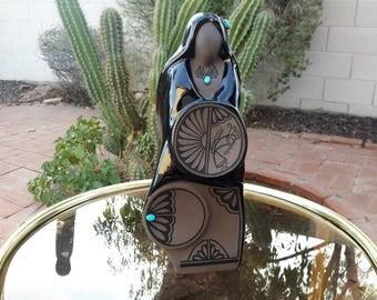 "Lawrence Vargas Black On Black Pottery Southwest USA Artist Figurine / Turquoise Settings 11"" Tall"