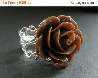 BACK to SCHOOL SALE Chocolate Brown Rose Ring. Brown Flower Ring. Filigree Ring. Adjustable Ring. Flower Jewelry. Handmade Jewelry.