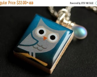 BACK to SCHOOL SALE Night Owl Necklace. Gray Owl Necklace. Scrabble Tile Necklace with Glass Teardrop. Bird Necklace. Scrabble Necklace. Han