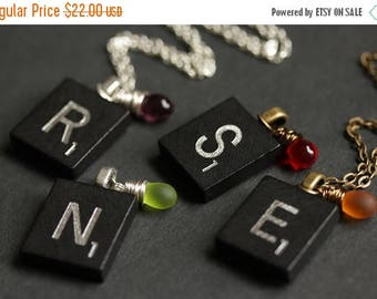 BACK to SCHOOL SALE Letter Necklace. Personalized Initial Necklace. Black Scrabble Tile Necklace with Glass Teardrop. Scrabble Necklace. Han