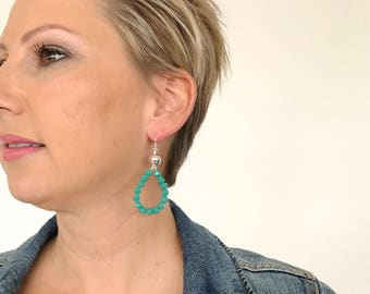 Coastal Greens Earrings, Drop Earrings, Hoop Earrings, Green Glass Crystal Earrings, Sterling Silver Drop Earrings