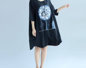 Cotton oversized dress Leisure T-shirt skirt