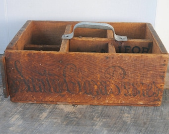 Vintage Wood Divided Section Box Make Do With Handle