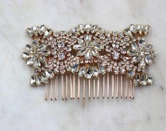 Rose Gold Hair Comb, Hair Comb, Bridal Hair piece, Rhinestones, Large Rhinestone Hair Comb, Vintage Crystal Rhinestone, Hair Piece Hair Comb