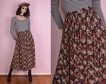 90s Floral Print Flowy Skirt/ Small/ 1990s
