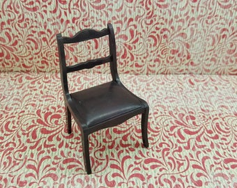 Marx Mansion Brown dining room chair Hard Plastic   Chairs Toy Dollhouse Traditional Style