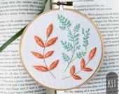 Hand Embroidery Kit DIY Stitching Project Box Cantaloupe Orange Mint Green  Botanical Leaves