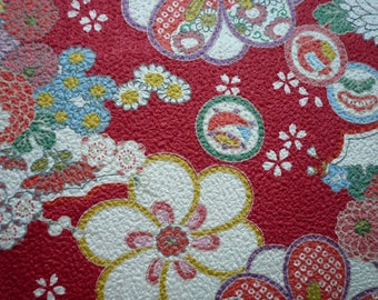 Flowers embossed background red-110 * 50 cm