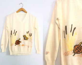 Vintage 70s Turtle and Frog Sweater / Embroidered Animal Nature Sweater / Medium