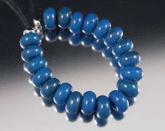Caribbean Blue - Handmade Lampwork Glass Spacer Beads by That Bead Girl