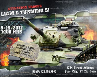 Military Tank invitation, Army Party, Soldier Birthday Invite