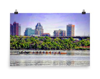 Rowing by Baltimore Skyline, Rowing, Water Sports, Teamwork, Baltimore Art, Museum Quality Poster Print