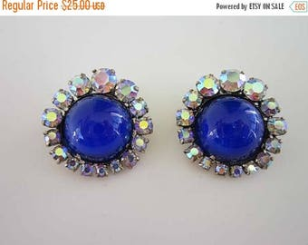 50% OFF Bright Beautiful Blue Cabochon with AB crystals signed made in Austria