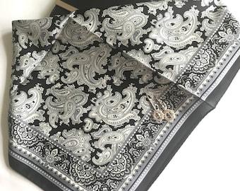 Black and White Paisley Print Silk Scarf