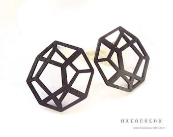 Dyeing Series -6 PCS 43x 45 mm Variety of Colors Filigree Geometrical Wood Dangle/ Wooden Charm/Pendant / Wood Earrings NM244
