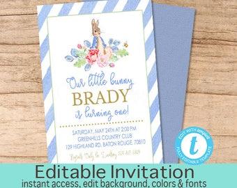 Little bunny invitation, Blue Bunny Invite, Vintage Rabbit First Birthday, First Birthday Invite, Editable Template, Instant download