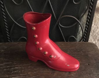 Antique Style Cast Metal Red Button Shoe Red Vintage Red Patina  Abx