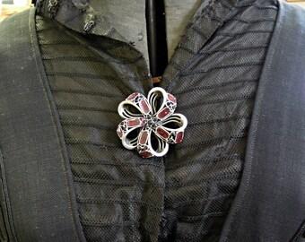 Vintage Hollycraft Flower Silvertone and Enamel  Pin / Brooch with Black Rhinestones / Fall Winter Brooch