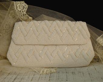 Vintage La Regale Clutch / Wedding Handbag / Evening Bag / Cream Ivory Beaded Handbag