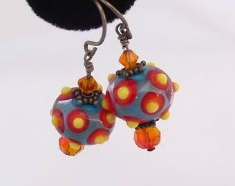 Whimsical Art Glass Bead Earrings