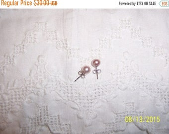 TWICE A YEAR, 25% Off Vintage Light Pink pearls earrings. Sterling silver.