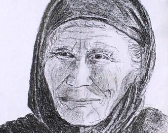 Pencil drawing of a Greek Woman