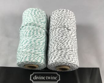 Divine Twine - Bakers Twine - 100% Cotton  - Gray Skies - Teal and Gray Twist Two Pack - Your Choice of Length