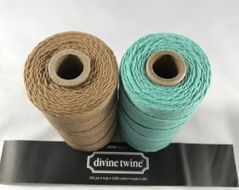Divine Twine - Bakers Twine - 100% Cotton  - Seaside - Teal and Brown Sugar Solid Two Pack - Your Choice of Length