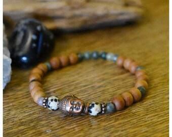 Dalmatian Jasper, Moss Agate Copper Buddha Mala Bracelet