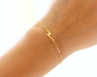 Gold Lightning Bolt Bracelet, Thin Gold Charm Bracelet, Dainty Gold Bracelet, Gold Lightning Bracelet, 14k Gold Filled Lighting Bolt Jewelry