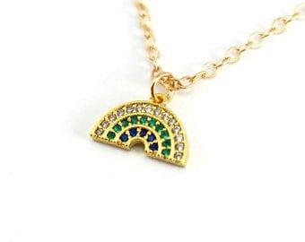 Dainty Pave Rainbow Necklace, Gold Charm Necklace, Gold Rainbow Necklace for girls or boys, Cubic Zirconia Necklace, CZ Rainbow Jewelry