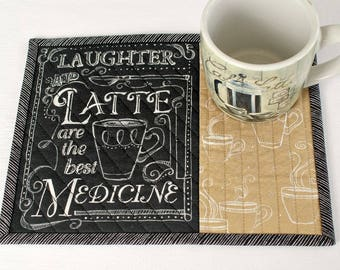 Quilted Mug Rug, Coffee Quote, Latte, Snack Mat, Black Tan with Words, Candle Mat, Quiltsy Handmade