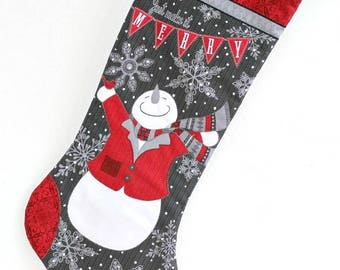 Snowman Christmas Stocking, Quilted Children Sock, Red Gray, Whimsical, Baby's First Christmas, Quiltsy Handmade