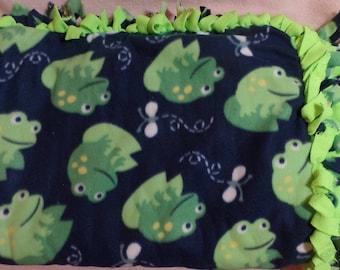 """Frogs Frogs Frogs  Fleece Quilt Blanket Throw  Tied 67"""" x 53"""""""