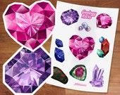 Stickers / Geology Rocks / Gemstone Stickers / Crystal Gems / Sticker Set/ Semiprecious Stones / Birthstone jewels / Garnet Amethyst Pearl