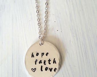 Hope Faith Love Aluminum Necklace Metal Stamped Handmade3