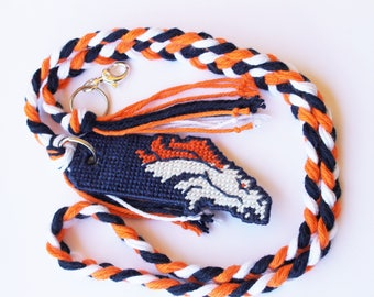 Spirit Cord Lanyard Broncos Denver inspired Team Football sports cord ID badge