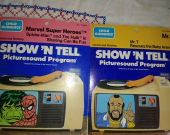 Vintage Show N Tell A Team Mr T Rescues Baby Animals and Marvel Spiderman and Incredible Hulk Sharing is Fun Superfriends Super Heroes