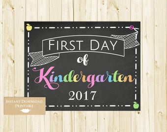 Kindergarten Sign, First Day of School Sign, Back to School Chalkboard Sign, 1st Day of School Sign, Kindergarten, INSTANT DOWNLOAD
